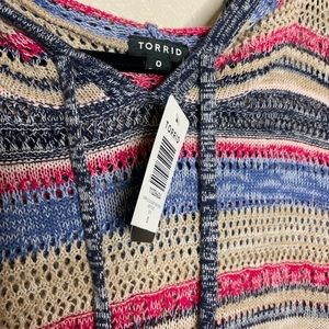 torrid Tops - NWT TORRID striped cold shoulder tunic with hood